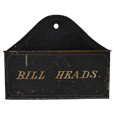 Antique Tole Toleware  Wall Pocket Box
