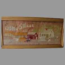 Antique Motto Punch Paper Sampler Home Sweet Home
