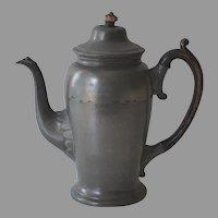 Antique English Pewter Coffee Pot by John Dean 1845