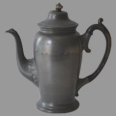Antique English Pewter Coffee Pot by John Dean 1845