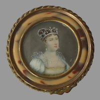 Antique French Bronze Trinket Box with Miniature Portrait of Princess Eugenia
