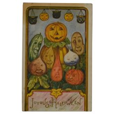 Antique Halloween Postcard with Pumpkins and Vegetables