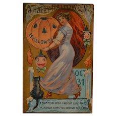 Antique Halloween Postcard Embossed 1910