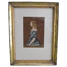 Antique Miniature Folk Portrait of a Young Girl in Lemon Gilt Frame