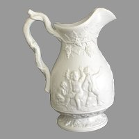 Victorian Relief Molded Jug with Putti or Angels