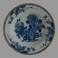 18thC Dutch Delft Faience Plate with Chinoiserie Decoration
