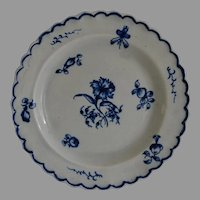 Early Blue and White Pearlware Plate with Scalloped Edge
