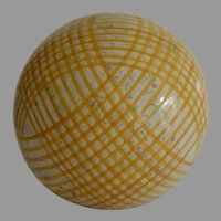 Antique Carpet Ball Bowl in Yellow  Pattern