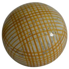 Antique Carpet Ball Bowl in Yellow Lined  Pattern
