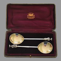 Sterling Apostle Spoons In Fitted Box by Hamilton and Inches 1912