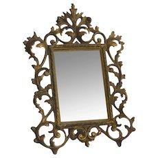 Antique  Rococo Mirror in Gilt Cast Iron