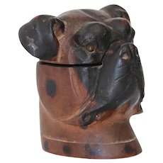 Antique Black Forest Carved Bulldog Inkwell
