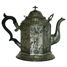 Antique Tole and Pewter Octagonal Teapot
