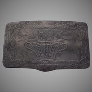 Antique Pewter Snuff or Match Box with Flower basket Motif