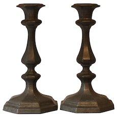Antique Pewter Hexagonal Candlesticks