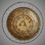 Victorian Lithographed Tin Bowl with Wirework Wire Frame