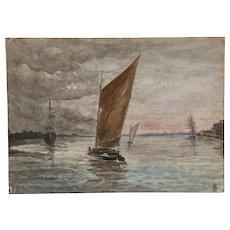 Antique Century Marine Sailing Watercolor