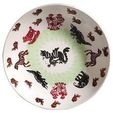 Antique Stick Spatter Spongeware Bowl with Animals