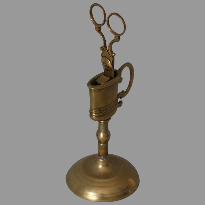 18thc Antique Br Candle Snuffer