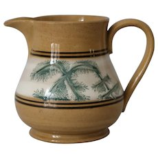 Antique Mocha Mochaware Yellow ware Jug
