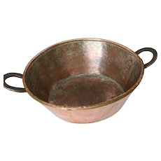 Antique Handmade Copper Pan With Hand Forged Handles
