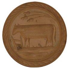 Antique Primitive Cow Butter Press Stamp Print