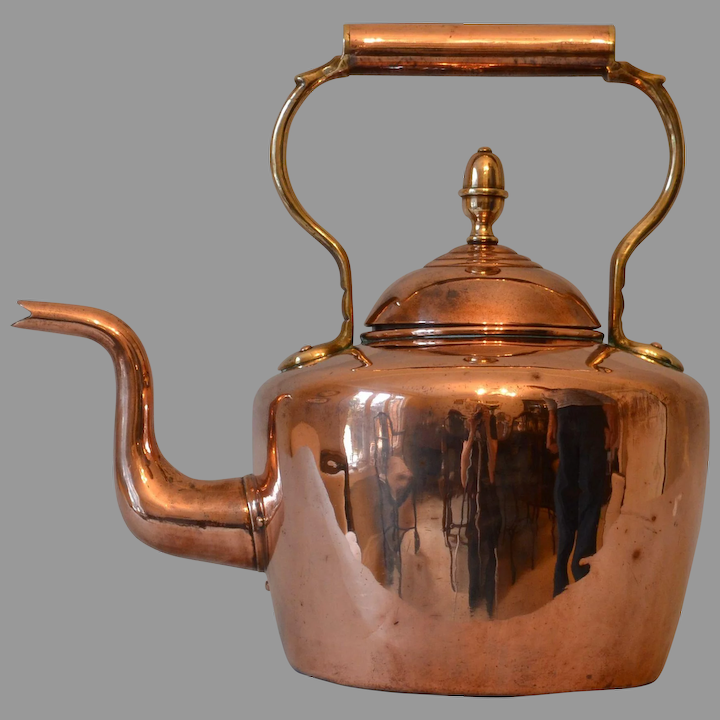 Vintage Swedish Copper Kettle with Wood Handle