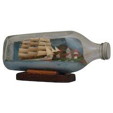 Vintage Model Sailing Ship in Bottle