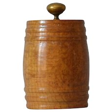 Antique Burl Barrel Humidor Container