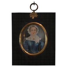 Antique Georgian Folk Portrait of an English Lady