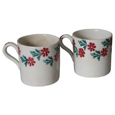 Antique Children's Spongeware Mugs