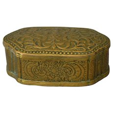 18thC Brass Tobacco Box