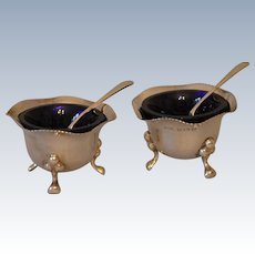 Pair of Sterling Silver Salts with Blue Glass Liners