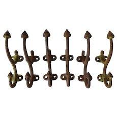Antique Iron Coat Hooks, set of 6