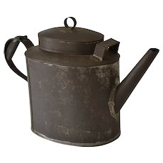 Antique Tole Tin Teapot Toleware