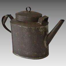 Antique Tole Tin Teapot Toleware