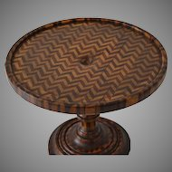 Antique Miniature Parquetry Table Stand Pedestal