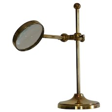 Antique Magnifying Glass on Stand in Brass