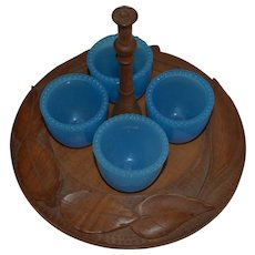 Antique Treen Woodenware Eggcup Stand