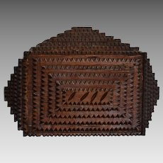 Antique Tramp Art Box with Carved and Notched Motif