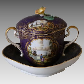 Antique Helena Wolfsohn  Covered Cup and Saucer from Germany