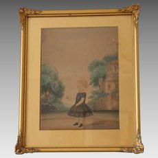 Antique Folk Painting of a Little Girl