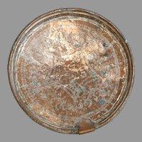 Antique Turkish Ottoman Silver Copper Tray Platter