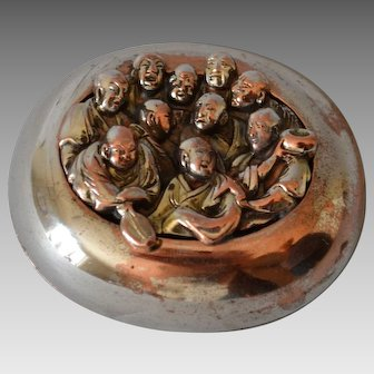 Antique Japanese Snuff Box with Buddha Motif
