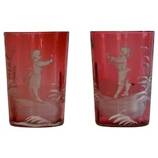 Pair Cranberry Mary Gregory Glasses Tumblers