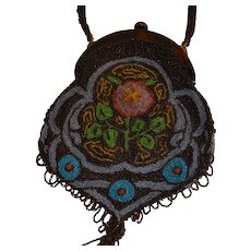 Antique Beaded Purse Bag from Art Nouveau Period