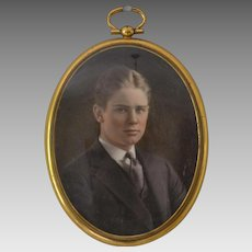 Miniature Edwardian Portrait of a Young Man