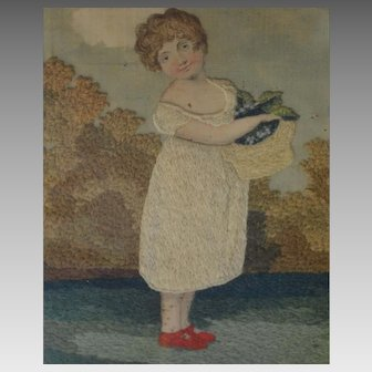 Georgian Silk Embroidered Picture of a Young Girl