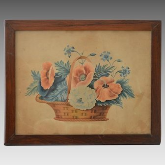 Antique Folk Theorem Watercolor of Flowers in a Basket