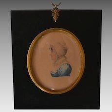 Antique Miniature Folk Portrait